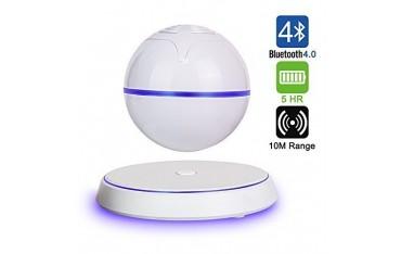 Високоговорител Milool, безжичен, магнитен, левитиращ, LED, Bluetooth, 360 въртящ се, бял