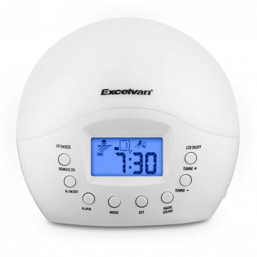 Радиочасовник Excelvan, Нощна лампа, LED екран, Sunrise