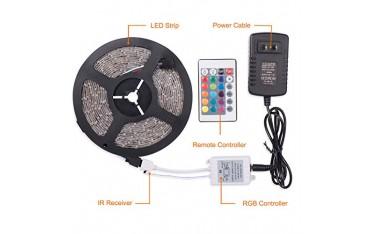 LED Лента, 5м, RGB, 12V 2A Адаптер захранване, Дистанционно