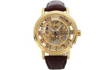 Ръчен часовник SEWOR C848, Механичен, Прозрачен, Кафяв