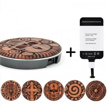 Безжично зарядно устройство LEAPCOVER QI, Универсално, С Дървена декорация, Кафяв