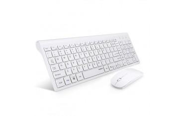 Клавиатура TopMate KM9000, Безжична, Ултра-тънка, Комплект с мишка Combo, Бяла