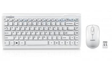 Клавиатура Perixx PERIDUO-707W PLUS, Безжична 2.4G, Комплекр мишка Combo 1000Dpi, USB , AES криптиране, Бяла