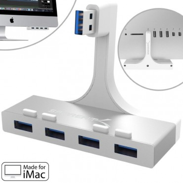 USB 3.0 ХЪБ SABRENT HB-IMCU, ЗА IMAC, 4 USB, Бял