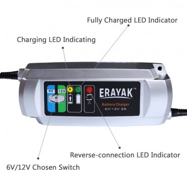 Автоматично зарядно за автомобил ERAYAK 6V / 12V