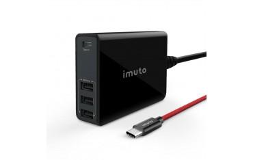 Зарядно устройство Imuto,4 портa USB, 52W, Type-C PD / QC 3.0 2.0