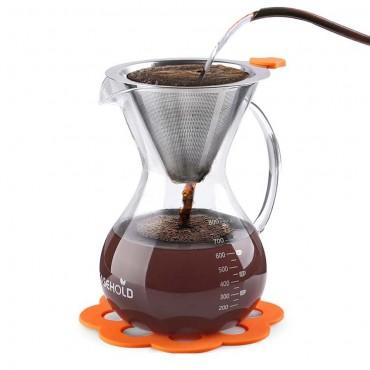Кана за кафе Easehold, Стъклена, 800ml, Метален филтър