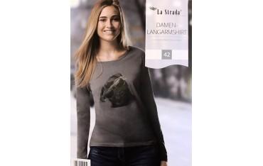 Дамска блуза La Strada, 100% памук, Кафява-Черна