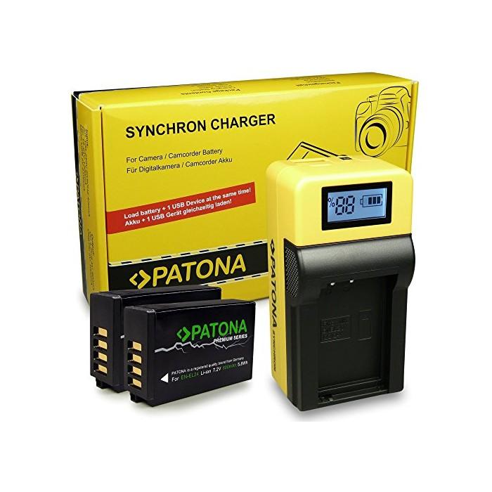 LCD зарядно устройство + 2x Premium EN-EL24 батерия за Nikon 1 J5 PATONA