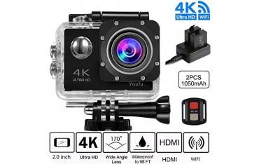 "Спортна камера Youfu, 4K, WIFI, Ultra HD, 2"" LCD, Водоустойчива"