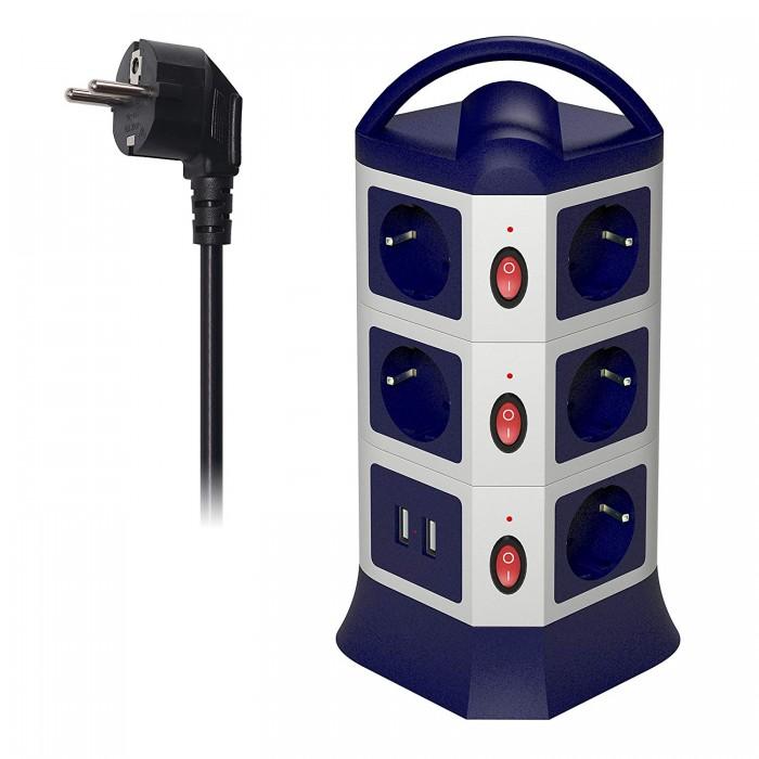 Вертикален разклонител 11 гнезда 2 USB порта MSTJRY
