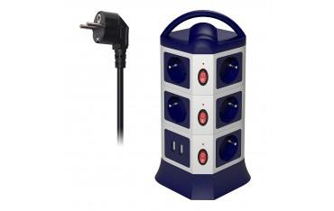 Вертикален Разклонител MSTJRY, 11 гнезда, 2 USB порта, Прибиращ се кабел