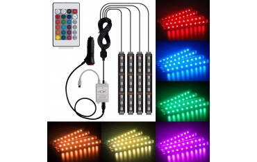 LED Автомобилни Ленти HenLight ty-07, Интериорни, 4 бр, 18 LED,, DC 12V, 6 W, IR дистанционно