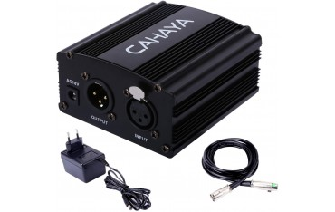 Захранване за кондензаторен микрофон Cahaya, 48 V, Адаптер, XLR аудио кабел
