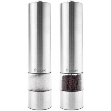Електрически мелнички за сол и пипер Savisto, Комплект, Неръждаема стомана