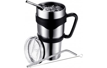 Вакуумна чаша Pictek, Неръждаема стомана, 2 Сламки