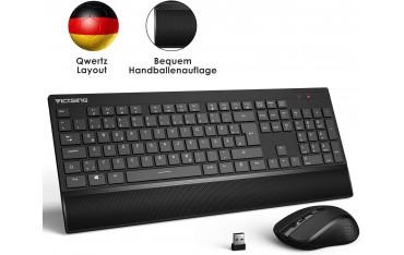 Безжична Клавиатура VicTsing pc123a, Мишка, QWERTZ, 2.4 GHz, USB нано приемник