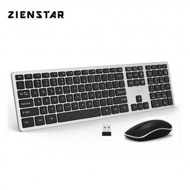 Безжична Клавиатура Zienstar, Мишка, 2400 DPI, Комбо, USB