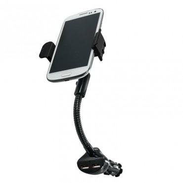 Стойка за телефон Purework, За кола, Зарядно устройство, 2x USB