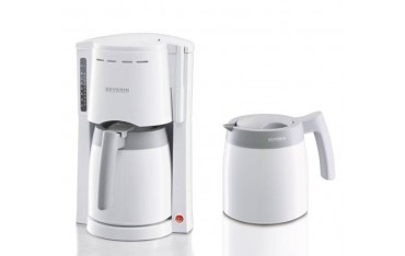 Кафемашина Severin KA9233 с 2 Термокани, за 8 Чаши кафе, Неръждаема стомана, 800W, Бял / Сив