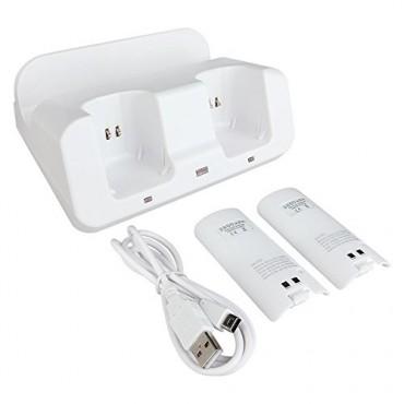 Докинг станция Hokyzam C15, 3 в 1, 2 акумулаторни батерии 2800mAh, Бяло