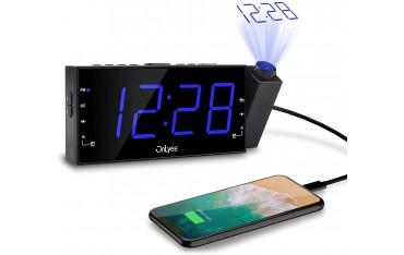 Радио часовник OnLyee, 180 градусов проектор, AM / FM радио