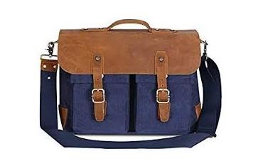 Пътна чанта Plambag, текстил и кожа, синя