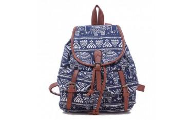 Пътна чанта Leefrei, текстил и кожа, синьо и кафяво