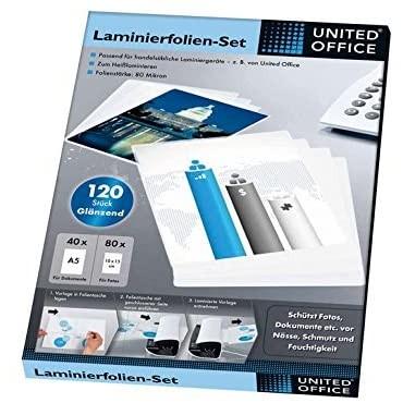 Комплект от 120 лъскави листа за ламинатор United Office