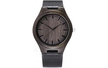 Мъжки часовник Temon, Кварцов, Бамбук, Естествена кожа, Водоустойчив