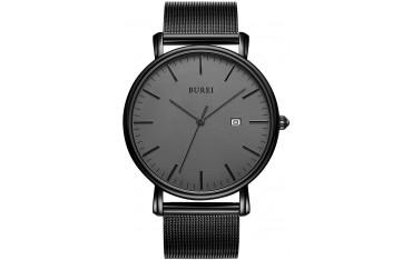 Мъжки часовник BUREI, Ултра тънък, мрежеста каишка от неръждаема стомана