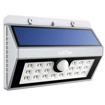 Прожектор Litom LSL7S, соларен, 20 LED, водоустойчив, сензор движение