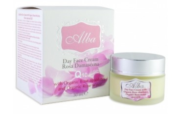 Дневен крем за лице с розово абсолю и Q10 Alba