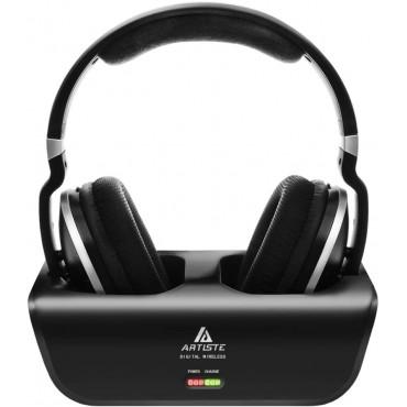 Безжични телевизионни слушалки Artiste ADH300 , 2.4 GHz UHF / RF, Стерео, Стойка за зареждане на 30м, Черни