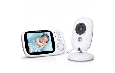 "Бебефон с камера AWANFI VB603, Двупосочно аудио, 3,2"" LCD видео екран, Нощно виждане, Температура, Приспивни песни"