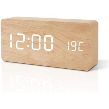 Часовник будилник FiBiSonic, Дърво, Дата, Температура, USB