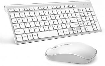 Клавиатура JOYACCESS, Безжична, 2.4G, Комплект с оптична мишка, Сребристо-Черна