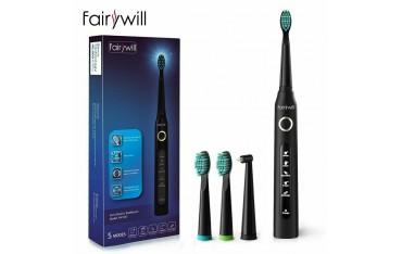 Електрическа четка за зъби Fairywill FW-507, Смарт таймер, 3D ленти за избелване на зъби, 3 накрайника, Черна