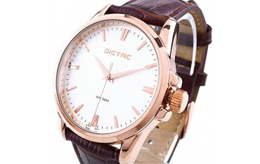 Мъжки Часовник Dictac, Естествена кожа, Японска батерия, Водоустойчив 30м