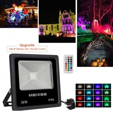 RGB Прожектор MEIKEE, LED , 30W, 16 цвята, Водоустойчив, Дистанционно