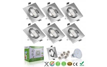 LED Лампи за вграждане Liqoo GU10, SMD, Комплект 6 бр.,4 W, Топло бял 3000K, 530 Lm